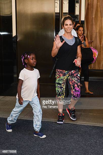 Television personality Jillian Michaels and Lukensia Michaels Rhoades leave their Soho hotel on September 17 2015 in New York City
