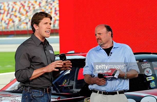 Television personality Jim Cramer interviews Carl Edwards driver of the Office Depot Ford during the taping of NBC's The American Dream on May 23...