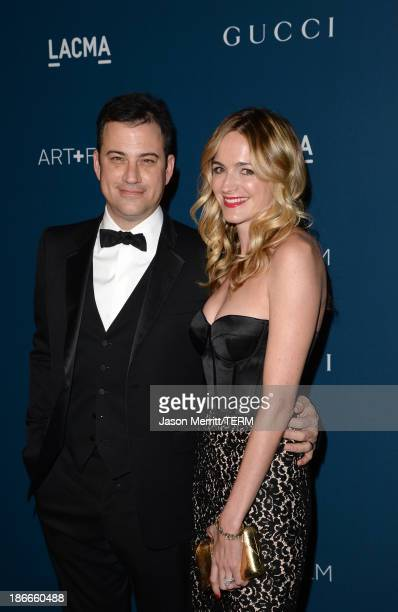 Television personality Jimmy Kimmel, wearing Gucci, and writer Molly McNearney attend the LACMA 2013 Art + Film Gala honoring Martin Scorsese and...