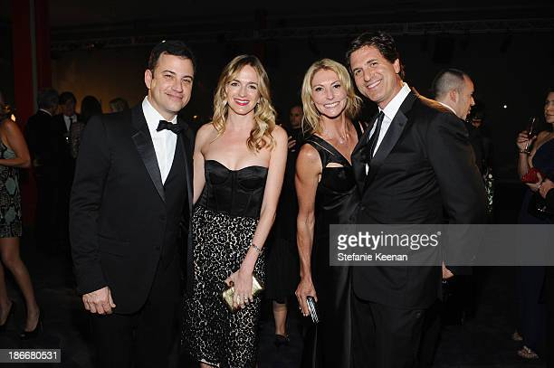 Television personality Jimmy Kimmel wearing Gucci writer Molly McNearney Krista Levitan and producer Steven Levitan attend the LACMA 2013 Art Film...