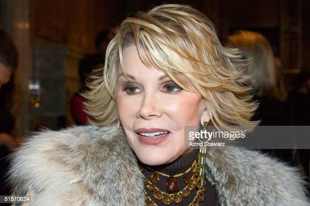 Television personality Joan Rivers arrives for the Banana Republic 2005 Spring Collection at the New York Public Library October 25 2004 in New York...