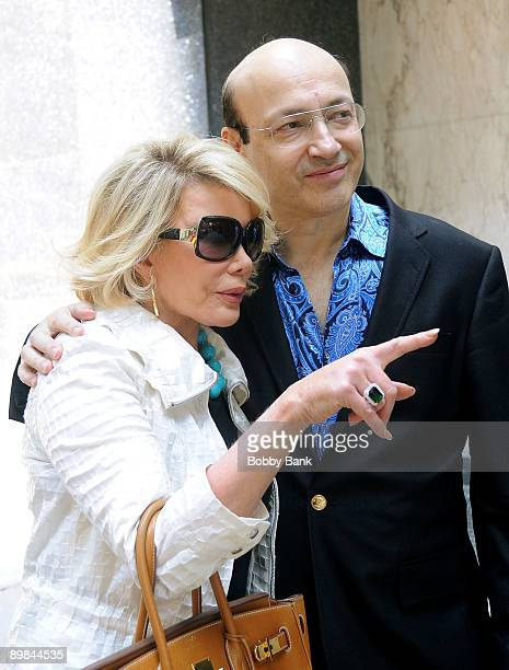 Television personality Joan Rivers with her new boyfriend Norm Zada of Perfect 10 Magazine pose with Joan's Friendship ring after having lunch on the...