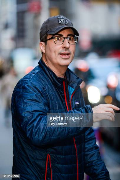 Television personality John Oliver leaves the The Late Show With Stephen Colbert taping at the Ed Sullivan Theater on May 09 2017 in New York City