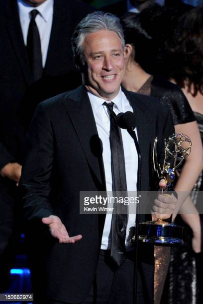 Television personality Jon Stewart accepts Outstanding Variety Music or Comedy Series for 'The Daily Show' onstage during the 64th Annual Primetime...