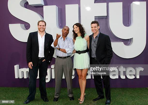 Television personality Josh Gates, and actors Joe Morton, Joanne Kelly, and Eddie McClintock attend the Syfy Imagination Park dedication ceremony at...