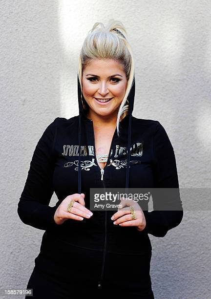 Television personality Josie Goldberg poses for a photo with her Spring 2013 Spoiled and Entitled clothing jewelry and chocolate collection on...