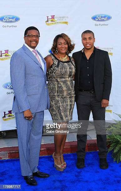 Television personality judge Greg Mathis his wife Linda Mathis and son Greg Mathis Jr arrive at the 11th annual Ford Neighborhood Awards at the MGM...