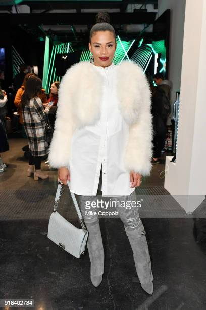 Television personality Kamie Crawford poses during New York Fashion Week: The Shows on February 9, 2018 in New York City.