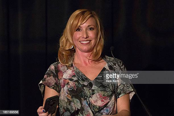 Television personality Kari Byron speaks on stage during the Girlstart Game Changers Annual Luncheon at the ATT Conference Center on October 17 2013...