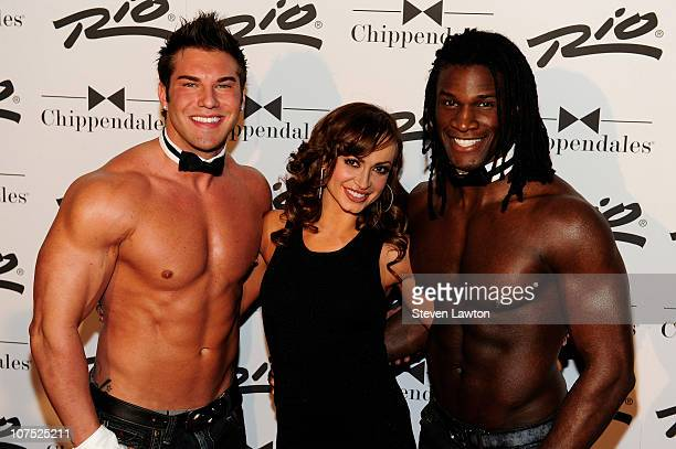 Television personality Karina Smirnoff Chippendale dancer Lind Walter and chippendale dancer Chaun Thomas arrive for 'The Ultimate Girls Night Out'...