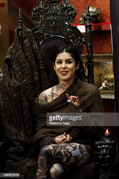 Television personality Kat Von D speaks with guests at Sephora VIB Holiday Cocktail Party Hosted By Kat Von D at Kat Von D's Wonderland Gallery on...