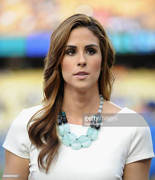 Television personality Kelli Tennant on the field before the game between the San Francisco Giants and the Los Angeles Dodgers at Dodger Stadium on...