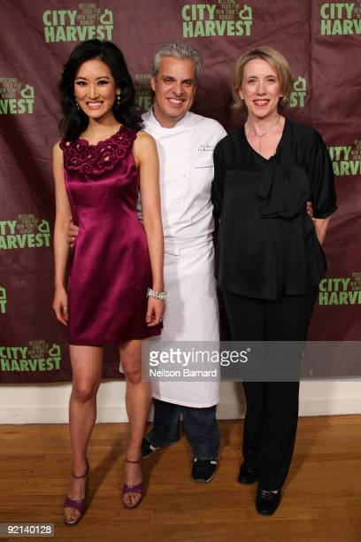 Television personality Kelly Choi, Chef Eric Ripert and City Harvest Executive Director Jilly Stephens attend City Harvest's 15th Annual Bid Against...