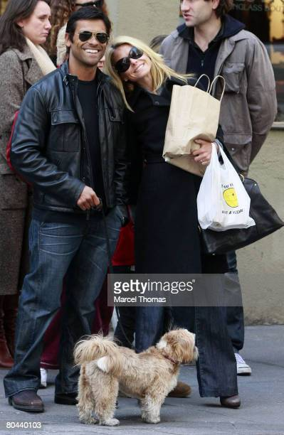 Television personality Kelly Ripa and husband actor Mark Consuelos sighting walking in SOHO with their daughter Lola on March 30 2008 in New York City