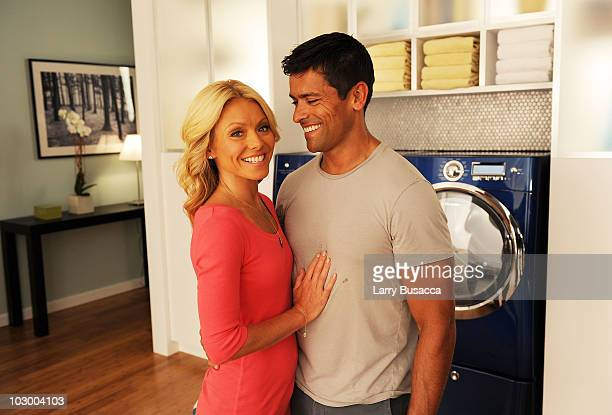 Television personality Kelly Ripa teams up with husband Mark Consuelos to film the latest in a series of popular television commercials for...