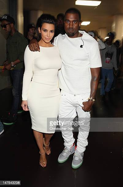 Television personality Kim Kardashian and rapper Kanye West attend the 2012 BET Awards at The Shrine Auditorium on July 1 2012 in Los Angeles...