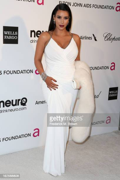 Television Personality Kim Kardashian arrives at the 21st Annual Elton John AIDS Foundation's Oscar Viewing Party on February 24, 2013 in Los...