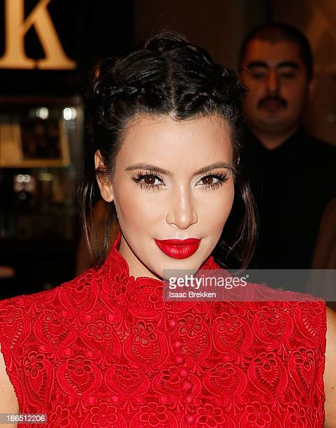 Television personality Kim Kardashian arrives at the Kardashian Khaos store at The Mirage Hotel Casino for a fan meetandgreet to support her perfume...