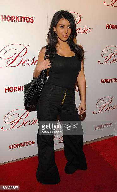Television personality Kim Kardashian arrives at the opening of Beso on March 6 2008 in Hollywood California