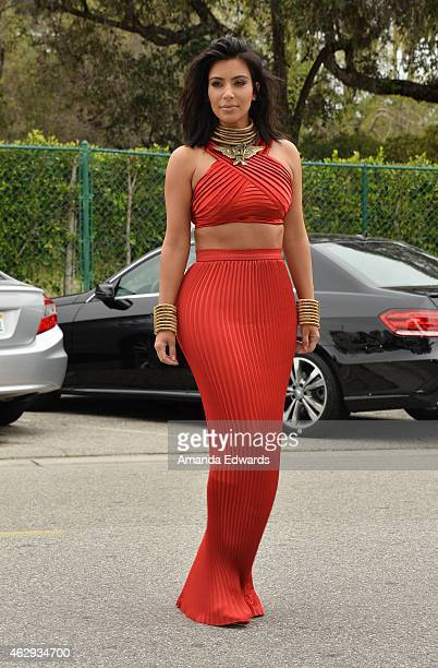 Television personality Kim Kardashian arrives at the Roc Nation Grammy Brunch 2015 on February 7 2015 in Beverly Hills California