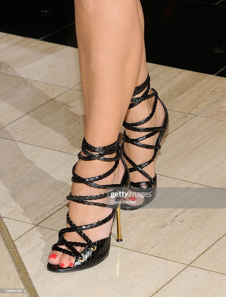 Television Personality Kim Kardashian Shoe Detail Arrives For An Appearance At The Khaos