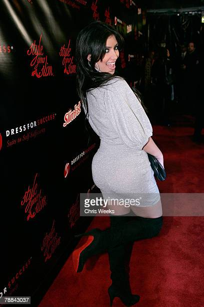 Television personality Kim Kardashian attends the Slimfast 'Style Your Slim' fashion show at Boulevard 3 on January 9 2008 in Hollywood California