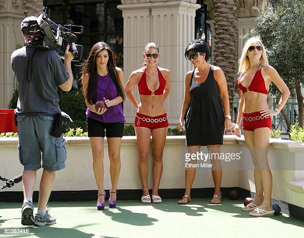 Television personality Kim Kardashian bocce ball instructor Jackie Savitt television personality Kris Jenner and bocce ball instructor Emma Hughes...