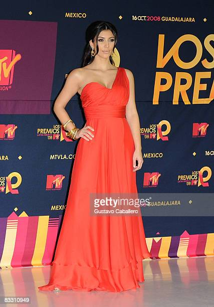 Television personality Kim Kardashian poses in the press room during the 7th Annual 'Los Premios MTV Latin America 2008' Awards held at the Auditorio...