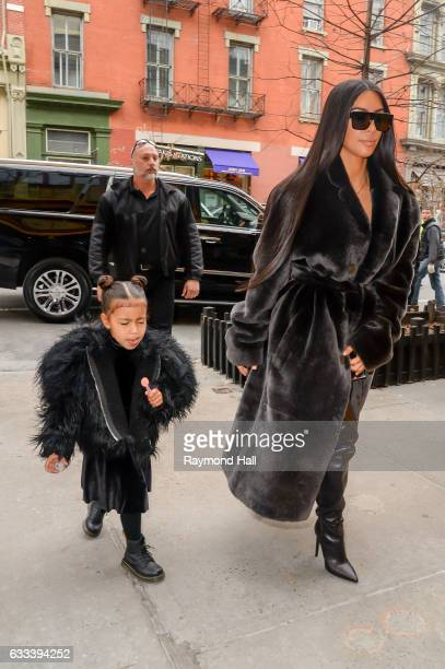 television personality Kim Kardashian West and North West leave their Midtown Manhattan hoteon February 1 2017 in New York City