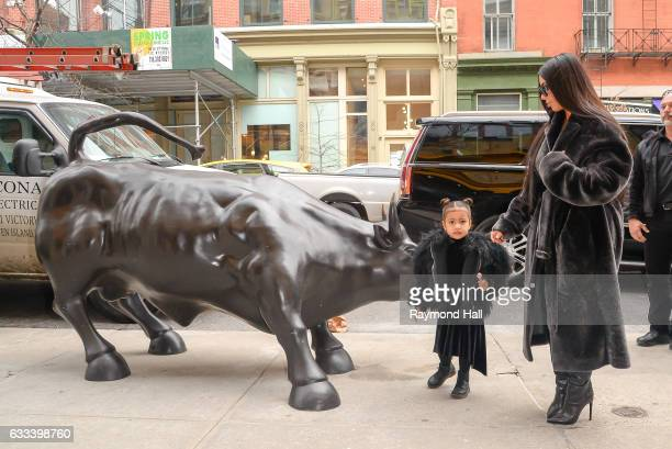 television personality Kim Kardashian West and North West leave their Midtown Manhattan hote on February 1 2017 in New York City