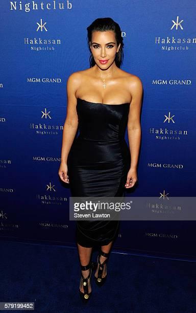 Television personality Kim Kardashian West arrives at Hakkasan Las Vegas Nightclub at MGM Grand Hotel Casino on July 23 2016 in Las Vegas Nevada