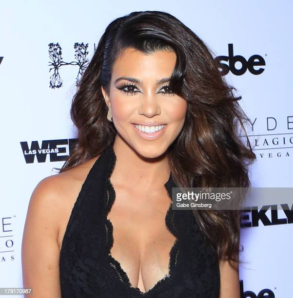 Television personality Kourtney Kardashian arrives at Hyde Bellagio at the Bellagio to host the Labor Day weekend bash on August 31 2013 in Las Vegas...