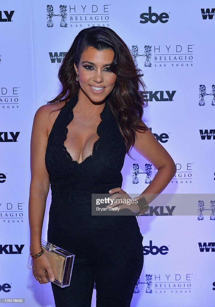 Television personality Kourtney Kardashian arrives at Hyde Bellagio at the Bellagio to host Labor Day weekend on August 31, 2013 in Las Vegas, Nevada.