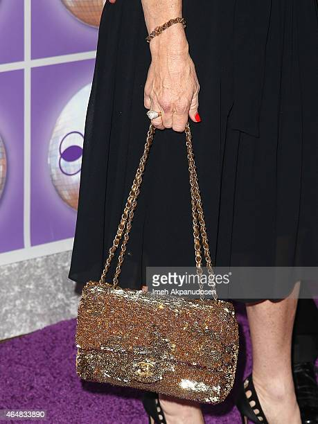 Television personality Kyle Richards purse and jewelry detail attends the Family Equality Council's Los Angeles Awards Dinner at The Beverly Hilton...