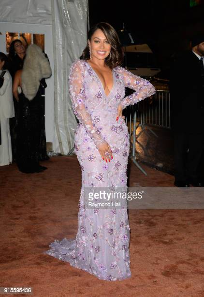 Television personality La La Anthony arrives at the 2018 amfAR Gala New York at Cipriani Wall Street on February 7 2018 in New York City