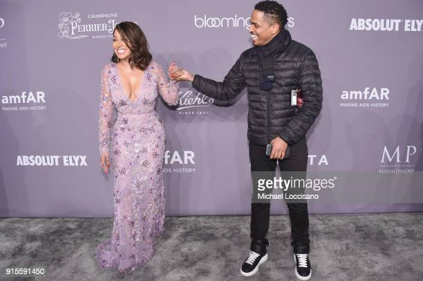 Television personality La La Anthony attends the 2018 amfAR Gala New York at Cipriani Wall Street on February 7 2018 in New York City