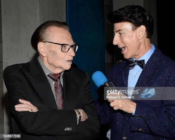 Television personality Larry King and interviewer BJ Korros attend the weSPARK Cancer Support May Contain Nuts A Night of Comedy at Skirball Cultural...