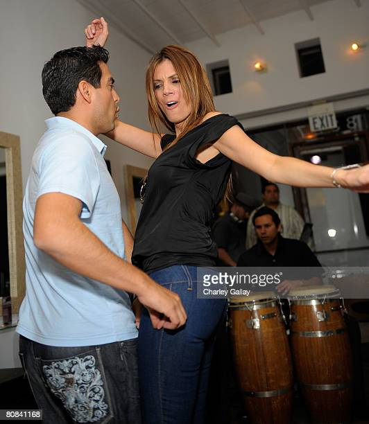 Television personality Lianna Grethel dances at the Redkens Real Control cocktail party at Warren Tricomi LA on April 23 2008 in West Hollywood...