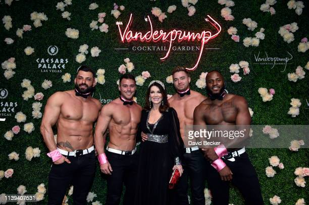 Television personality Lisa Vanderpump and Chippendales dancers attend the grand opening of Vanderpump Cocktail Garden at Caesars Palace on March 30...
