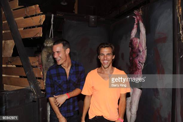 Television personality Madison Hildebrand and Frank Meli attend Knotts Scary Farm Haunt on October 25 2009 in Buena Park California
