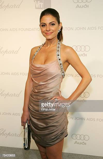 Television personality Maria Menounos arrives at the 15th Annual Elton John AIDS Foundation Academy Awards viewing party held at the Pacific Design...