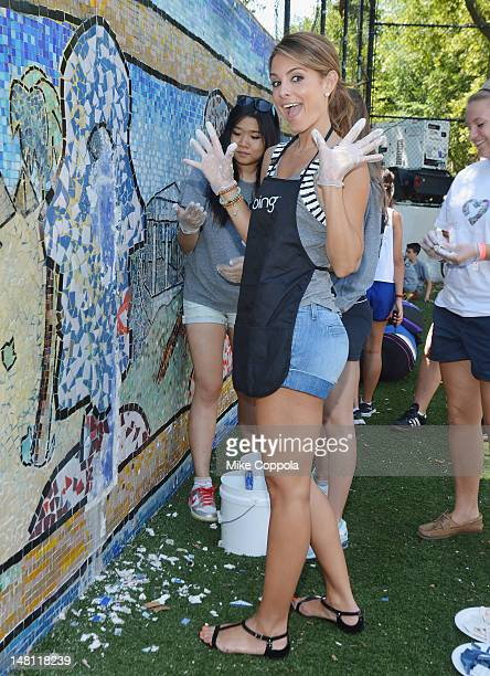Television personality Maria Menounos attends the Bing Summer Of Doing Celebrity Volunteer Event at Jacob H Schiff Playground on July 10 2012 in New...