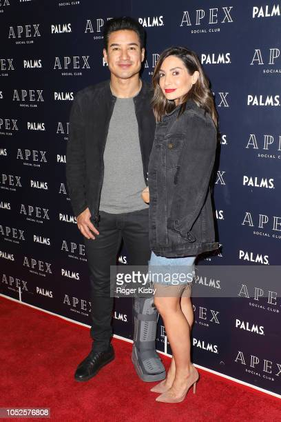 Television personality Mario Lopez and his wife Courtney Lopez arrive at APEX Social Club at Palms Casino Resort to celebrate their birthdays on...