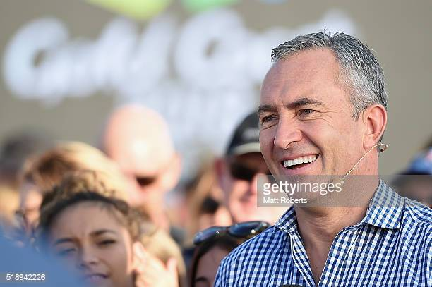 Television personality Mark Beretta during the Official Reveal of GC2018 Mascot and Two Years to Go Celebrations at Burleigh Heads Beach on April 4...