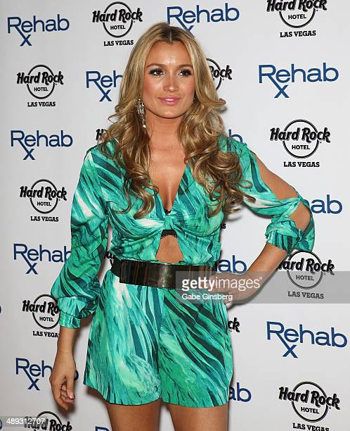 Television personality Marta Krupa arrives at the Hard Rock Hotel Casino during the resort's Rehab pool party on May 10 2014 in Las Vegas Nevada