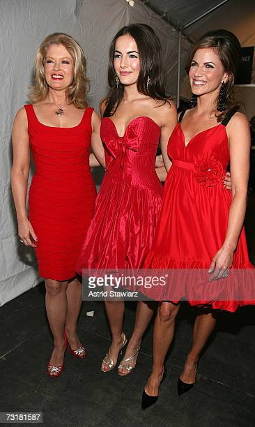 Television personality Mary Hart Actress Camilla Belle and NBC Today correspondent Natalie Morales poses backstage at the Red Dress Fall 2007 fashion...