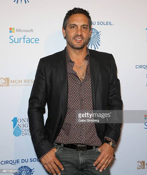Television personality Mauricio Umansky arrives at the One Night For ONE DROP blue carpet event at 1 OAK Nightclub at The Mirage Hotel Casino on...
