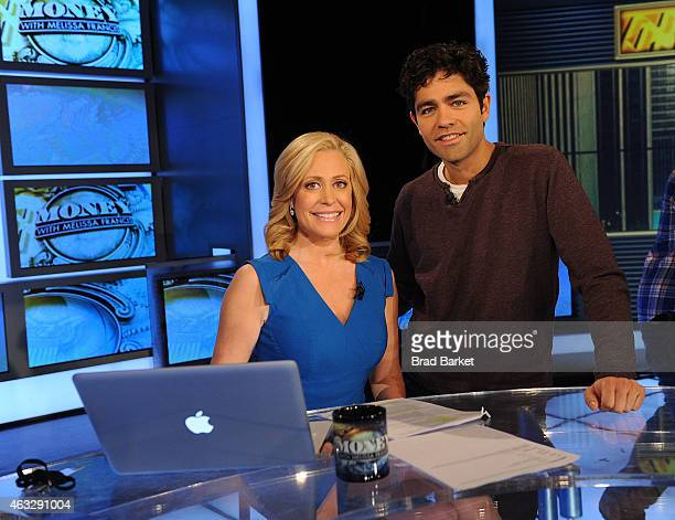 Television personality Melissa Francis and actor Adrian Grenier visit FOX Business Network at FOX Studios on February 12 2015 in New York City