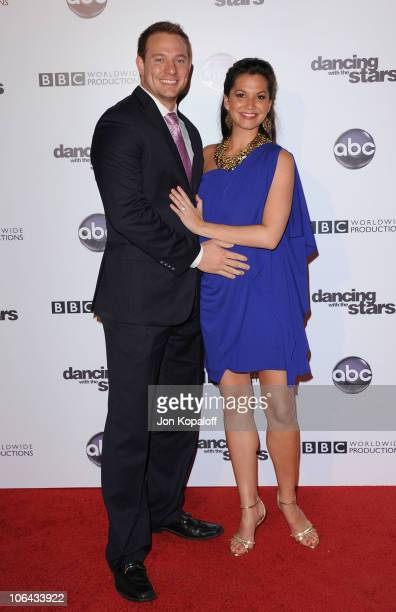 Television personality Melissa Rycroft and husband Tye Strickland arrive at the 'Dancing With The Stars' 200th Episode at Boulevard 3 on November 1...