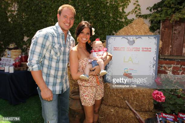 Television personality Melissa Rycroft and husband Tye Strictland introduce their daughter Ava Grace Strickland to friends during a 'Sip 'n' See'...